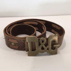 D&G Dolce Gabanna Belt. Sz 105/90. Brown  & Brass